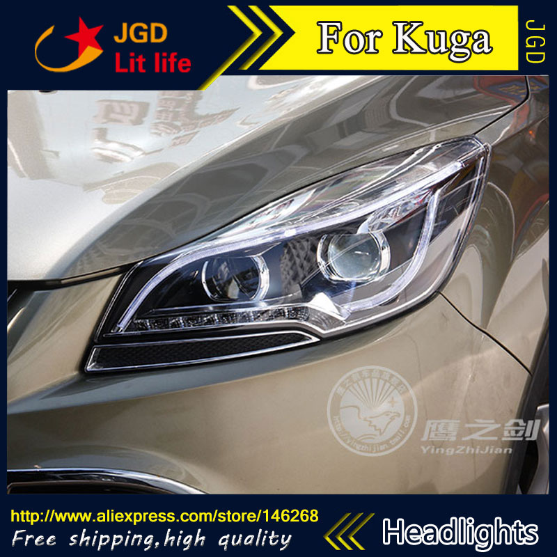 Free shipping ! Car styling LED HID Rio LED headlights Head Lamp case for Ford Kuga 2013-2015 Bi-Xenon Lens low beam 1 pcs diy car styling new pu leather free punch with cup holder central armrest cover case for ford 2013 fiesta part accessories