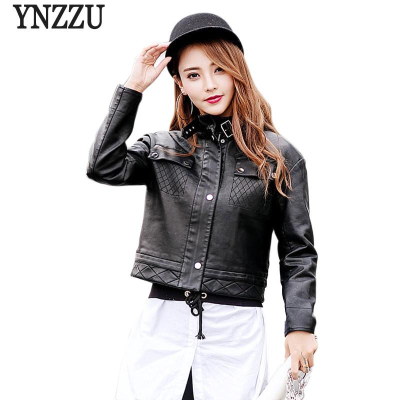 YNZZU New Fashion 2018 Spring Women Faux   Leather   Jackets Casual Stand Collar Motor Biker PU   Leather   Jacket Coat Streetwear YO533