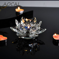 AOCAI AAA Crystal Lotus Flower Candle Holders Candlestick Glass Candle Stand For Table Centerpieces Home Decor