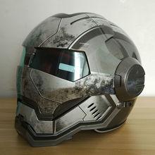 Masei Para mujer para Hombre IRONMAN IRON Man War Machine Gris casco de la motocicleta medio casco de la cara abierta del casco de ABS motocross casque
