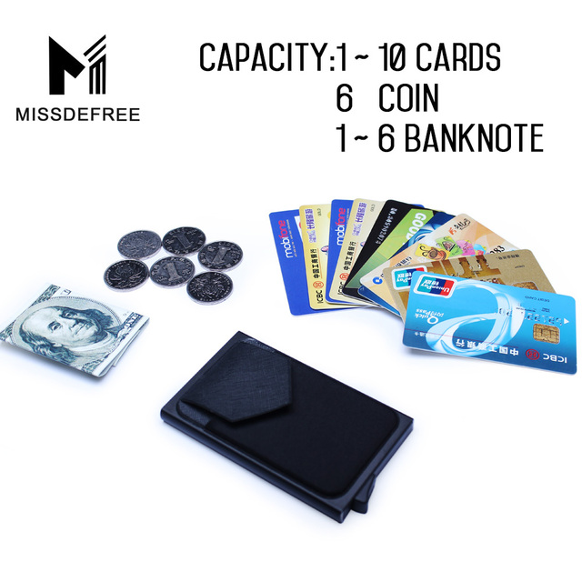 Aluminum Wallet With Back Pocket ID Card Holder RFID Blocking Mini Slim Metal Wallet Automatic Pop up Credit Card Coin Purse 3