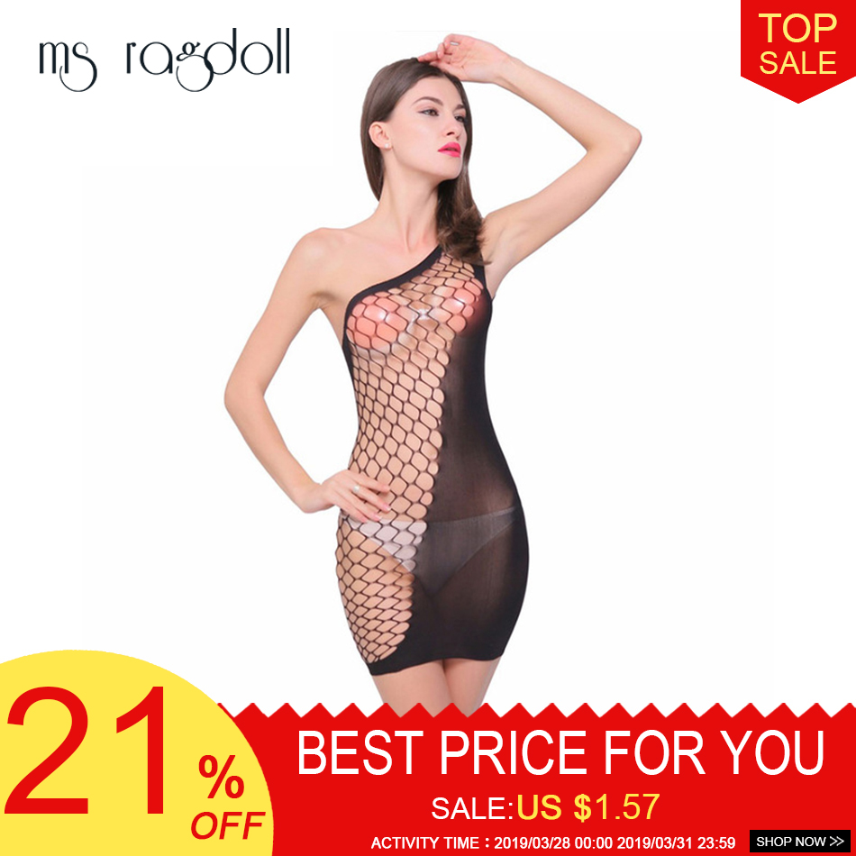 Buy Women Sexy Lingerie Hollow Fishnet Mini Bodycon Dress Body Stockings Sexy Crotchless Babydoll Sleepwear Underwear Baby Dolls