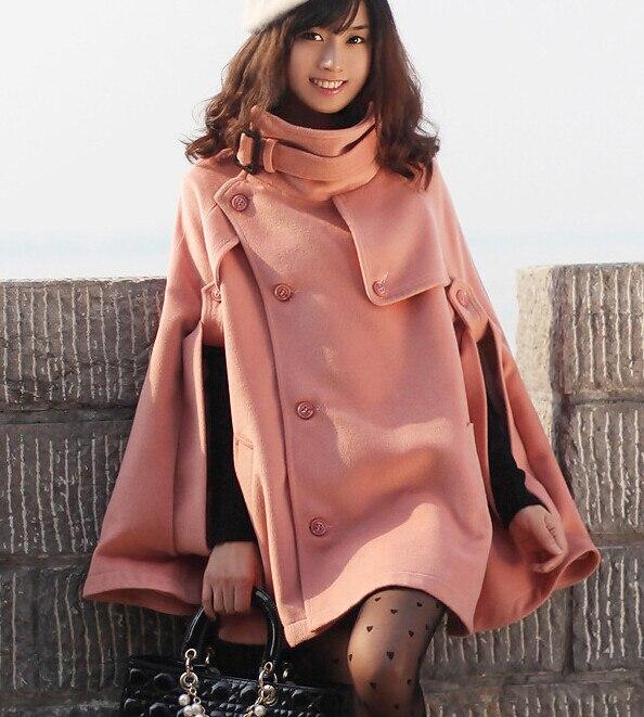 Осень Зима Большой размер женское кашемировое пальто стоячий воротник шерстяное пальто-накидка толстое шерстяное пальто - Цвет: Розовый