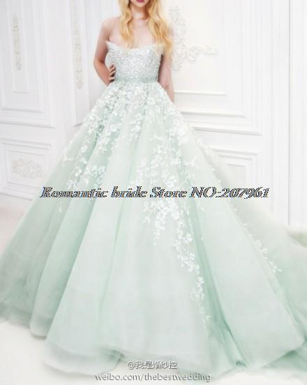 Luxury Amazing quinceanera dresses Ball gown 2016 Mint Green Tulle lace Appliques Plus Size sweet 16 dress Bridal BR06 - Romantic Wedding Dresses Store store