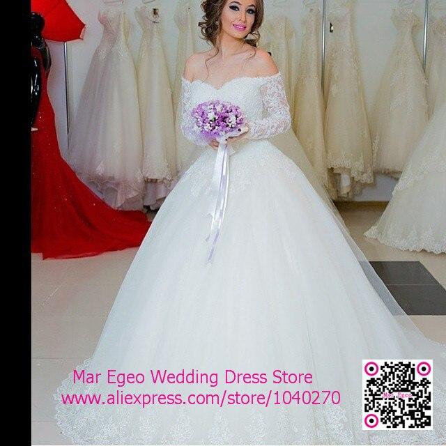 Off Shoulder Lace Wedding Dress Long Sleeve See Through Vintage ...