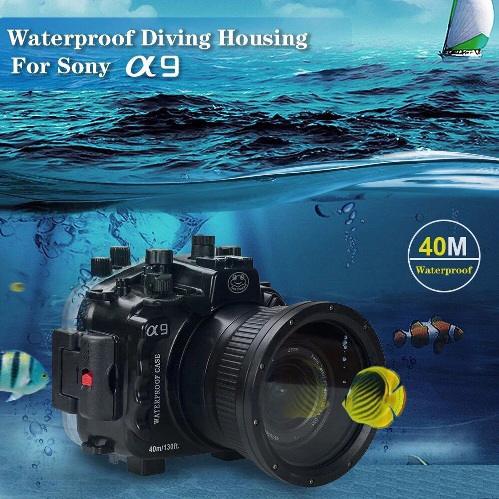 Free ship DHL Seafrogs 40m/130ft Underwater Camera Housing Case For Sony A9 Camera DSLR Camera Bags meikon 40m wp dc44 waterproof underwater housing case 40m 130ft for canon g1x camera 18 as wp dc44