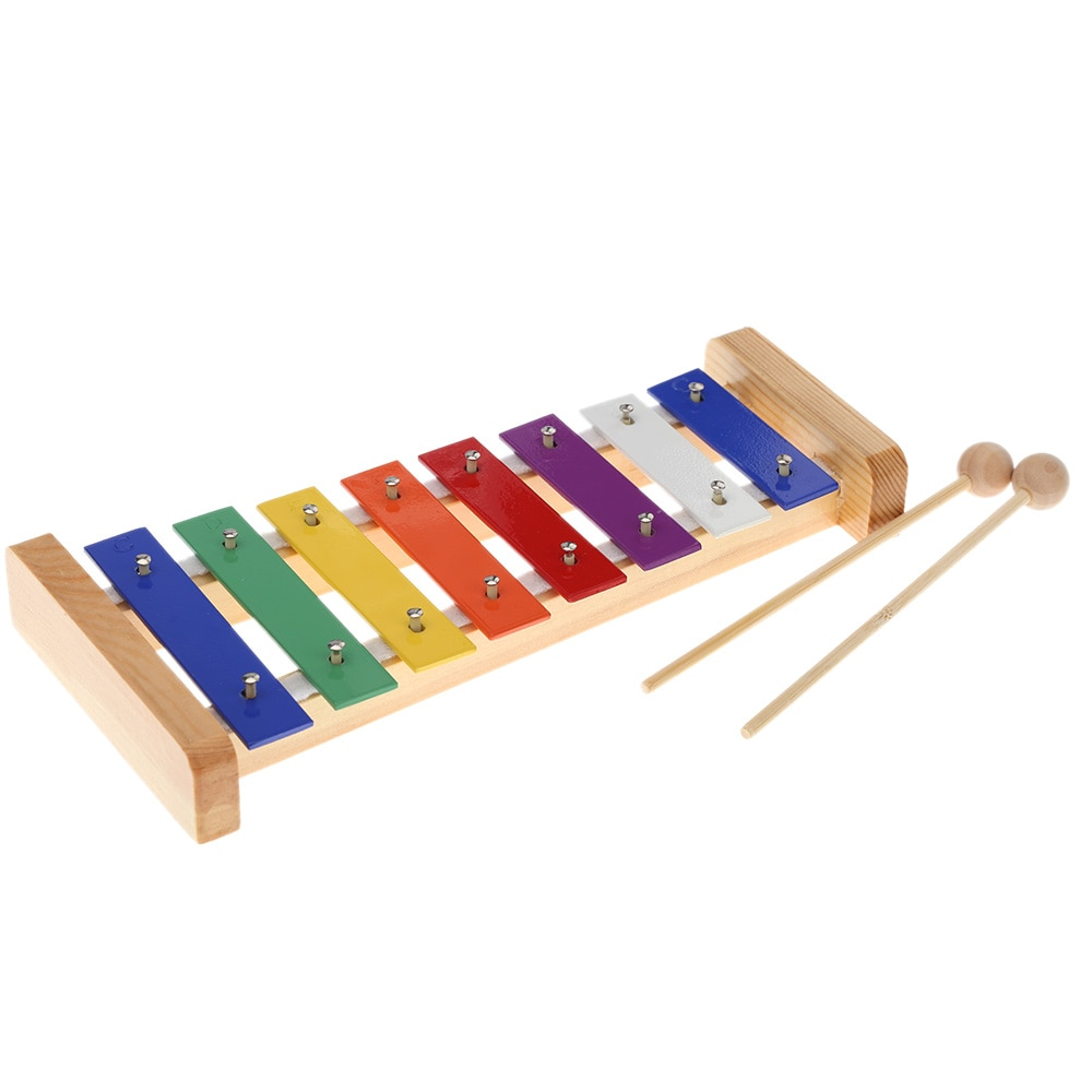 Wood Pine Xylophone 8-Note 3mm Colorful Aluminum Plate C Key Percussion Toddle Kid Musical ToyWood Pine Xylophone 8-Note 3mm Colorful Aluminum Plate C Key Percussion Toddle Kid Musical Toy