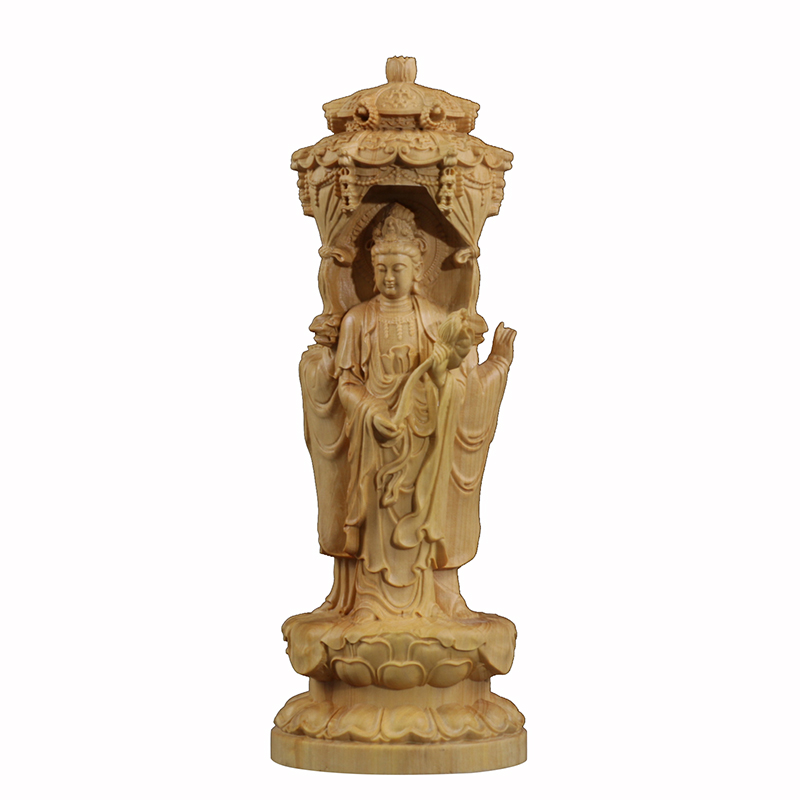 Delicate Western Three Buddhas Round sculptures wood statues Chinese style folk statue hand sculpture miniature tree