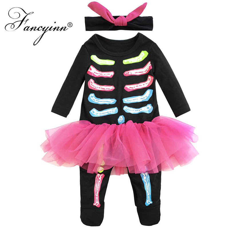 Girls Skeleton Childs Kids Halloween Fancy Dress Costume Outift 2-3 Yrs