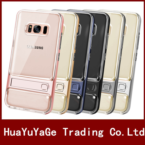 PC+TPU Transparent Clear crystal Back Anti-Knock Cover kickstand shockproof case for Samsung Galaxy S7 S8/S8 Plus J510 J710