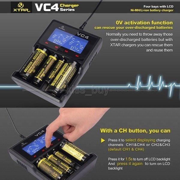 ФОТО XTAR VC4 USB Battery Charger charging display Detector Capacity Tester for 3.6V / 3.7V Lithium (Li-ion) batteries AAA AA 18650