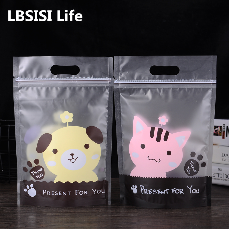 50Pcs Stand Up Cute Cat Dog Frosted Cookie Zip Lock Bag Plastic Packaging For Food Tea Candy Baking