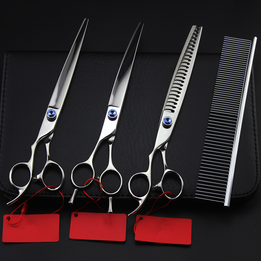 4 kit upscale Professional left hand pet 8 inch shears dog grooming hair scissors cutting barber thinning hairdressing scissors 4 kit professional 8 inch pink pet grooming shears cutting hair scissors case dog grooming thinning barber hairdressing scissors