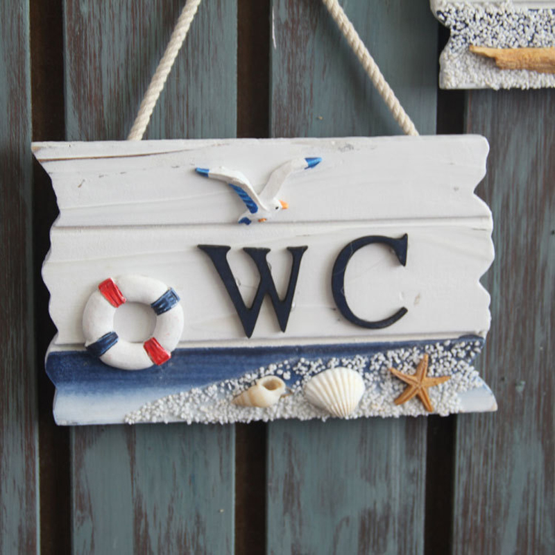 Wooden Door Sign Nautical Decor WC Toilet Signs Wall Boat Ship ...
