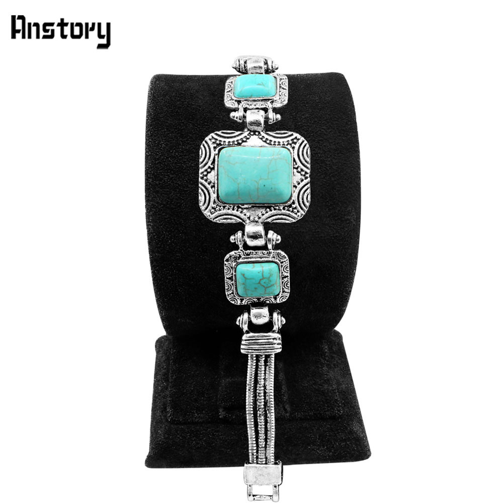 Rectangle blue stone cuff cuff bracelet for women for Vintage costume jewelry websites