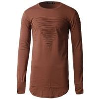 Men T shirt Fashion men's o neck Casual Top Long Asymmetric Hem Male Long Sleeve T shirt Ripped Holes Streetwear tee shirt men