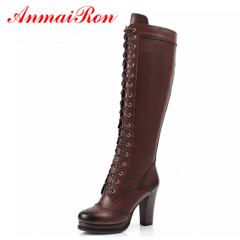 ANMAIRON High Quality Sexy Winter Boots Women Thigh High Boots New Lace Up Knee Corium Boot Women High Heels Retro Knight Boots aiweiyi winter boots shoes woman high quality sexy women thigh high boots lace up knee boot high heel retro knight boots