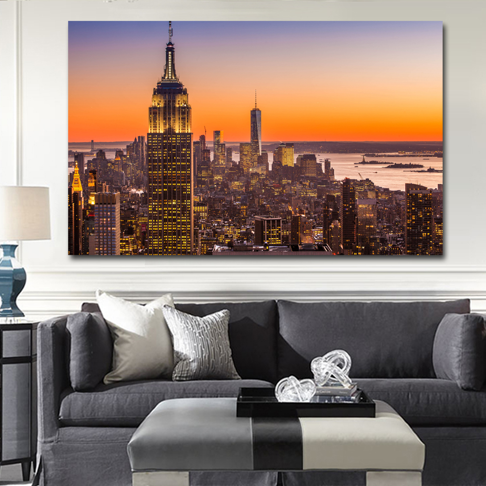 Cityscape Wall Art new york city aerial view sunset buildings cityscape wall art