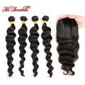 8A Grade Malaysian Loose Wave With Closure 4 Bundles Cheap Human Hair Annabelle Hair Closure Unprocessed Malaysian Loose Wave