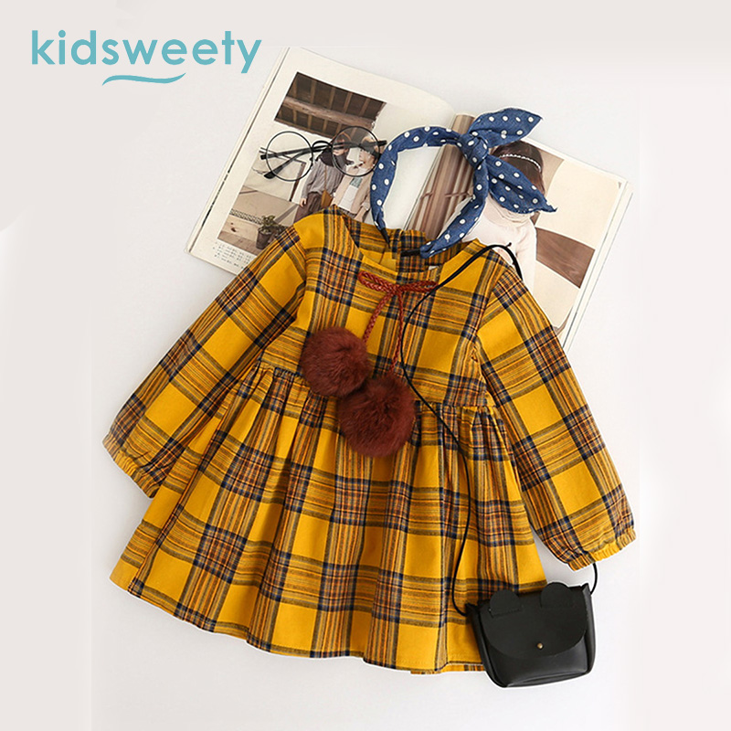 a64391d30b49 Best buy Kidsweety Girls Dresses Cotton A Line Plaid Chocolate Pullover O  Neck Lace Up Patchwork Bowknot Mid Calf Casual Girls Long Dress cheap online.  ...