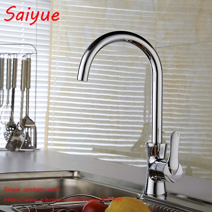 New chrome Finish Solid Brass Kitchen Faucet Single Handle Hole Vessel Sink Mixer Tap Hot Cold