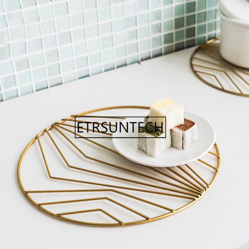 Nordic Gold Iron Pot Pad Coasters Cup Placemat Coffee Cup Mat Table Top Heat Insulation Pad Home Desktop Decoration - 2