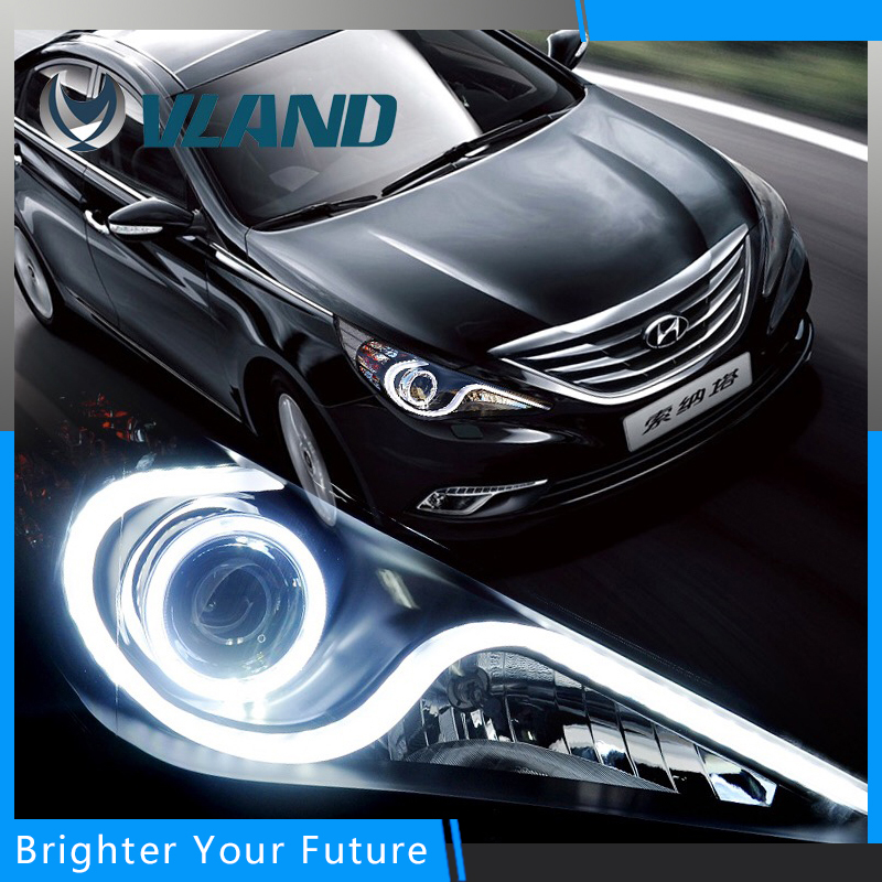 Headlight Fit For Hyundai Sonata 2011-14 Halo Head Lamp with H7 Angel Eye Bi-xenon Projector new headlight headlamp left right for hyundai sonata 8 head led light bar drl 2011 2015 h7 bi xenon