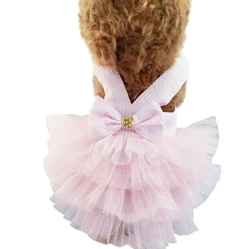 Vestido de mascota pricess con correa a rayas tutú viste un gran lazo pastel vestido Seersucker falda mascota perro ropa perro vestidos