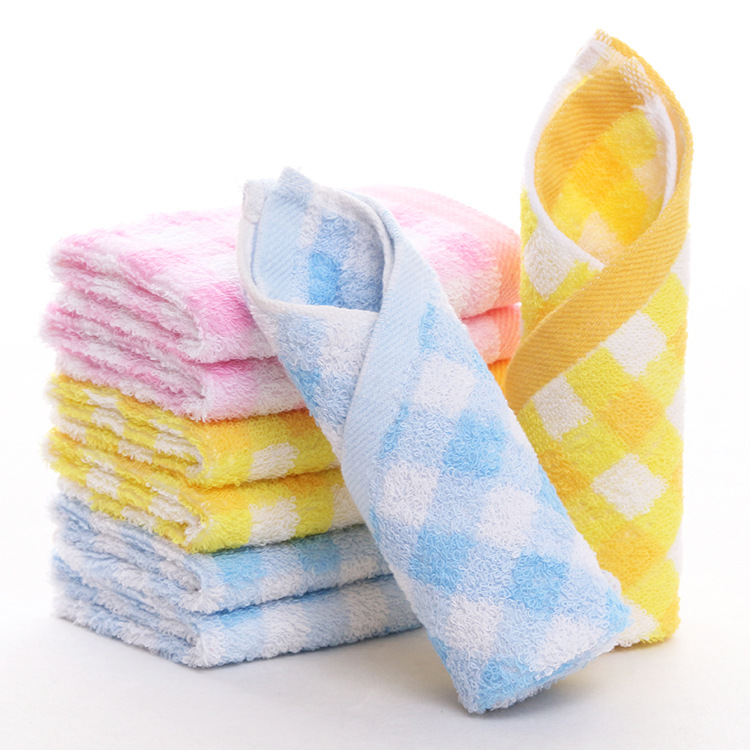 factory wholesale cotton thickening color small square nursery kindergarten baby mouth towel wipes small hand towel