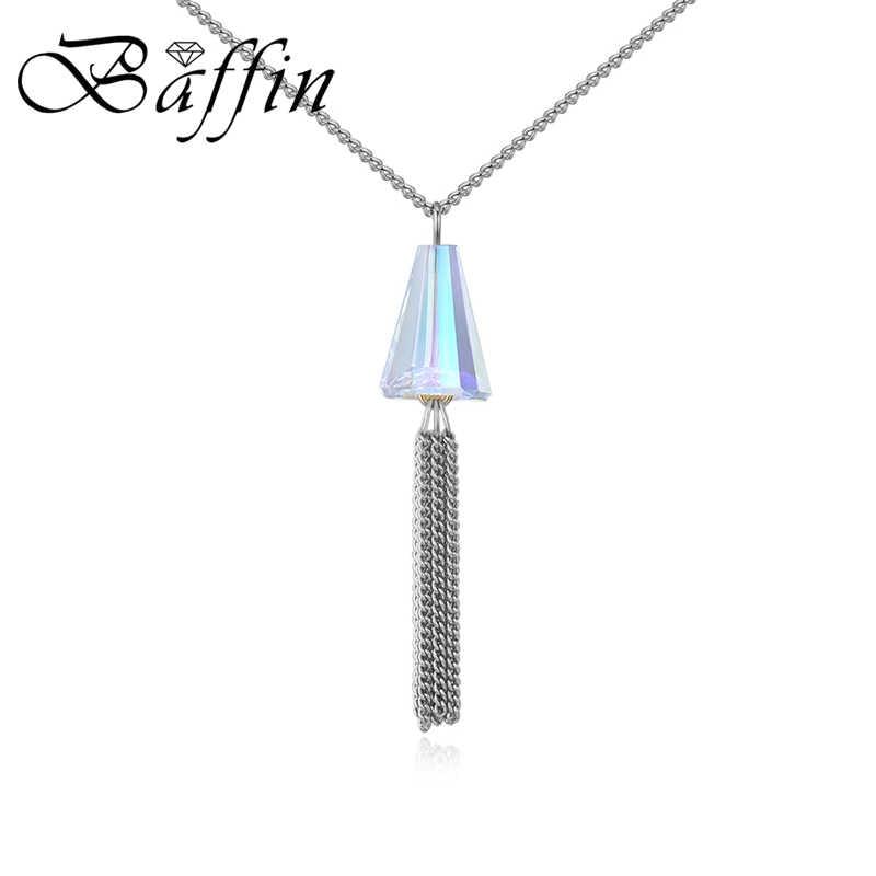BAFFIN oryginalne kryształy Swarovskiego długi Tassel wisiorek naszyjniki srebrny złoty kolor łańcuch Dome koraliki Collares dla kobiet prezent