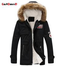 GustOmerD Brand Warm Winter Jacket Men Fur Collar Long Style Lovers Slim Fit Winter Jacket Men Fashion High Quality Men Clothes