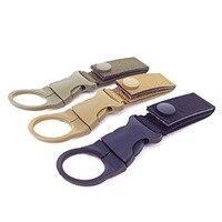 1 pc Camping Bottle Buckle Clip Hanging Strap Webbing Belt Tactical Nylon Bottle Hook Holder Outdoor Quickdraw Carabiner Kit