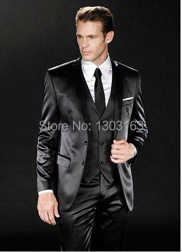 La marca de moda se adapta a los nuevos hombres Vestidos de novia / fiesta de baile Novios Tuxedos Traje de hombre (Chaqueta + Pantalones + Chaleco + Corbata) Envío gratuito