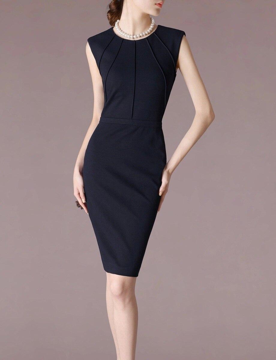 Femme Ol printemps offre spéciale solide o-cou sans manches genou longueur crayon robes femme automne Stretch couverture pli mince robe