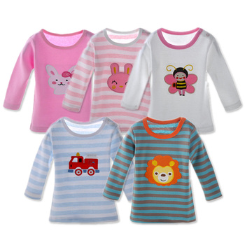 5 Packs Baby Girls T-Shirts Full Sleeve Babies Clothing Cotton Tee Tops Newborn Cartoon Animal Embroidery T-Shirt Boy Clothes