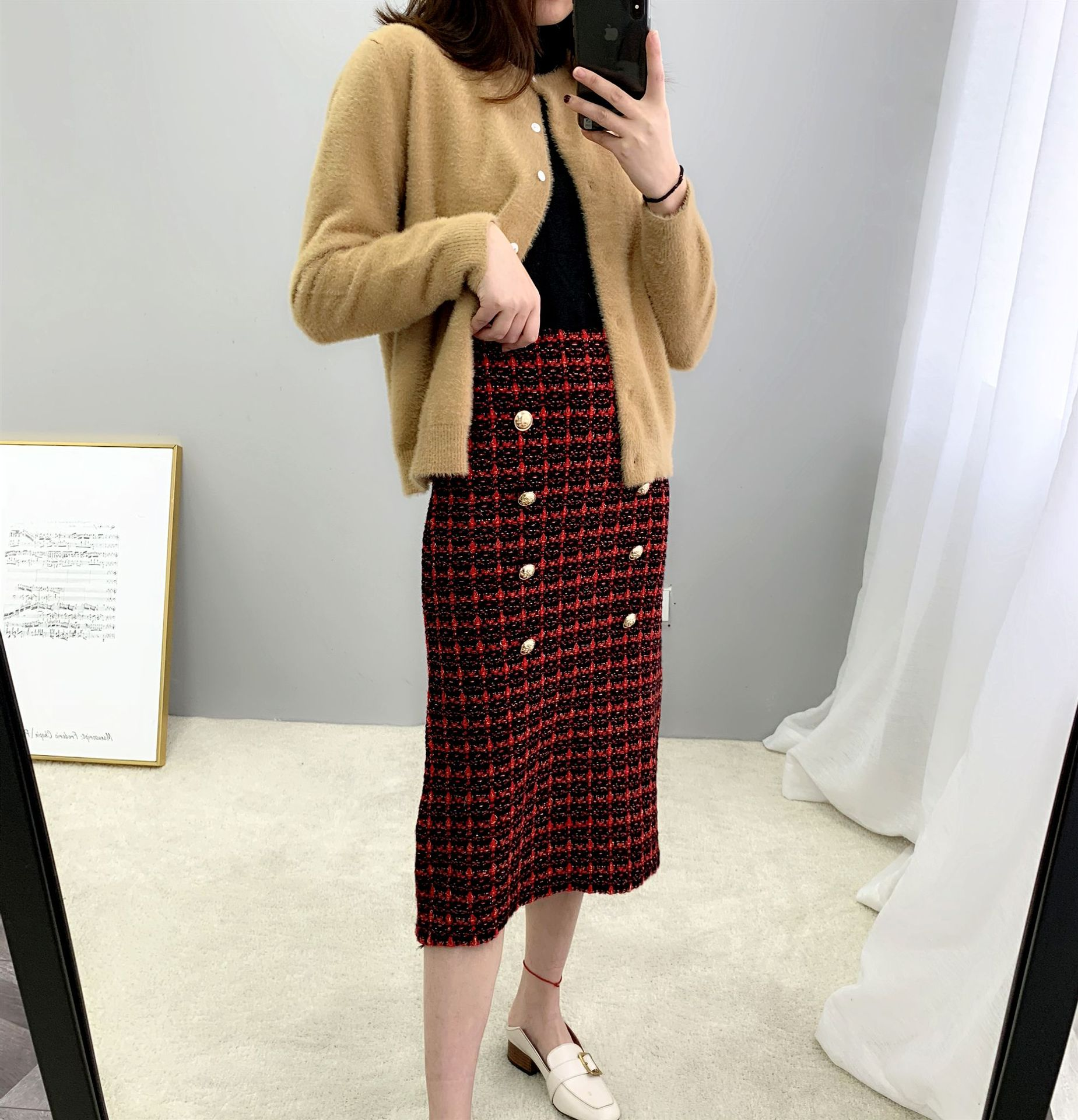 19 Spring autumn New tweed Women's skirt elegant Office Double Breasted plaid knitted Vintage Package Hip midi skirt Female 2