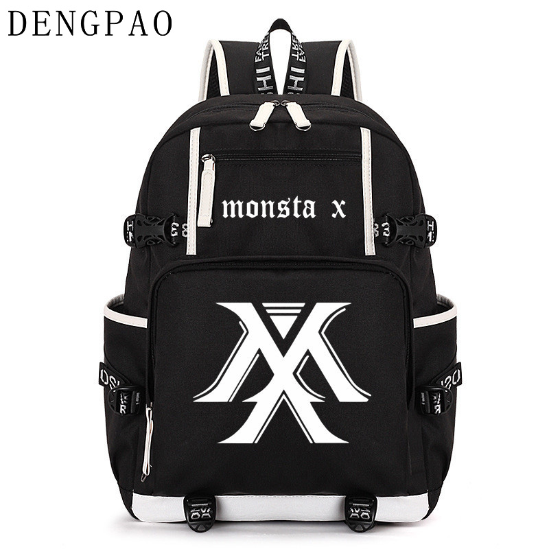 DENGPAO MONSTA X kpop laptop backpack men school bags for boys girls teenagers anti theft bagpack