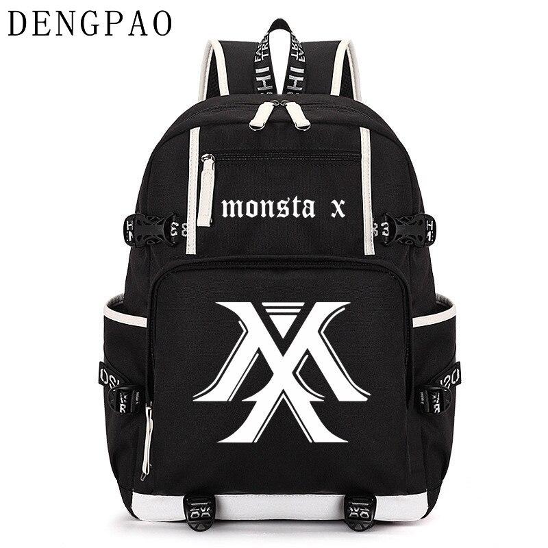 DENGPAO MONSTA X kpop plecak na laptopa mężczyźni torby szkolne dla chłopcy dziewczyny nastolatki anti theft plecak damskie torby dla dzieci tornister w Plecaki od Bagaże i torby na  Grupa 1
