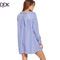DIDK Blue Striped Tie Back Shift Shirt Dress Spring 2017 Casual Dresses Ladies Round Neck Long