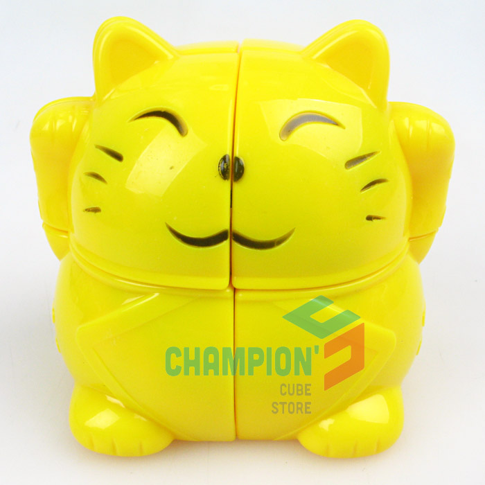 YJ A 2x2 Fortune Cat Magic Cube Puzzle Yellow Learning Educational Cubo Magico Toys