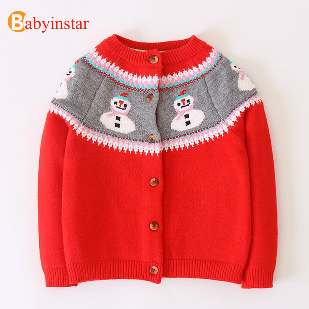 Babyinstar Baby Girl Sweater Children Casual Clothing 2018 Sweater Cardigan Jacket Cardigan For Girl Snowman Print Girl Cardigan цена 2017