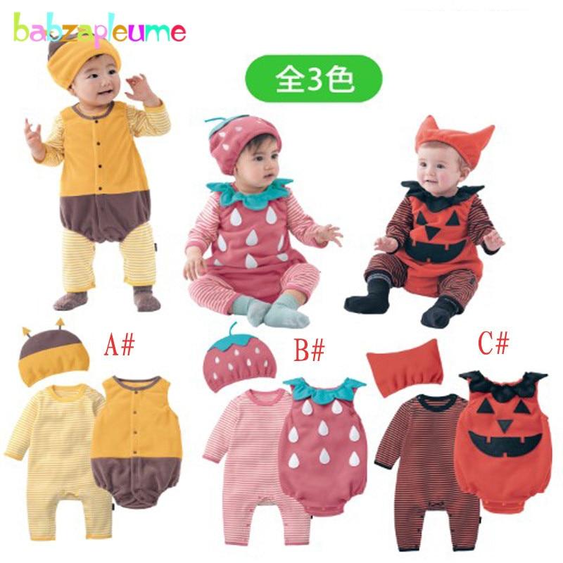 3PCS/0-18Months/Spring Autumn Newborn Clothing Set Baby Clothes Cartoon Cute Pumpkin Bodysuit+Rompers+Hat Infant Jumpsuit BC1341