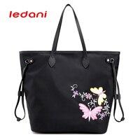 LEDANI Brand Fashion Women S Handbag Lady Butterfly Embroidered Nylon Shoulder Bag Famous Designer Of The