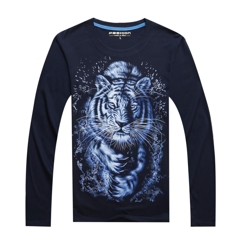 2015 new men 3d hip hop printed long sleeve t shirts tiger for Mens printed long sleeve shirts