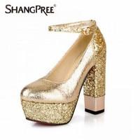 Nouvelle Mode sexy chaussures de mariage parti Glitter Pompes femmes chaussures à talons hauts cristal En Cuir Vernis Mince Partie de Chaussures Hauts Talons