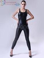 Высокое качество Хэллоуин Карнавал Party черный блестящий металлик комбинезон Zentai костюм