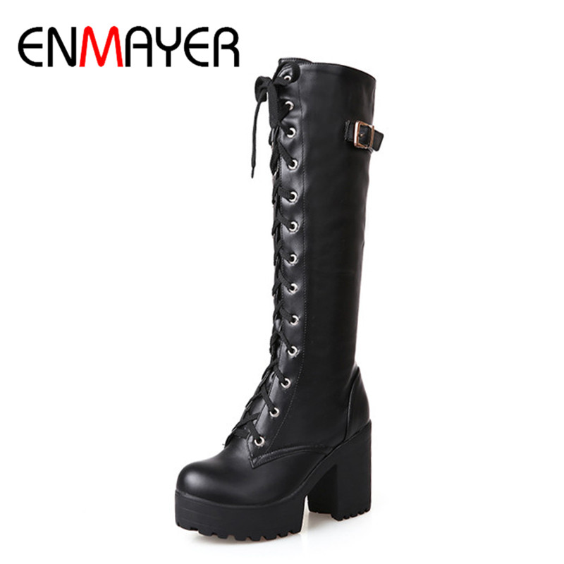 ENMAYER High Heels Round Toe Winter Boots Shoes Woman Riding Size 34-43 Knee-high Boots Platform Shoes Cross-tied White ShoesENMAYER High Heels Round Toe Winter Boots Shoes Woman Riding Size 34-43 Knee-high Boots Platform Shoes Cross-tied White Shoes