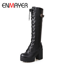 ENMAYER High Heels Round Toe Winter Boots Shoes Woman Riding Size 34-43 Knee-high Platform Cross-tied White