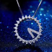 520 Eternal Love Super Beautiful Lovely Of The Clock Pendant Necklace 925 Sterling Sliver AAA Clear Zircon Necklace Women