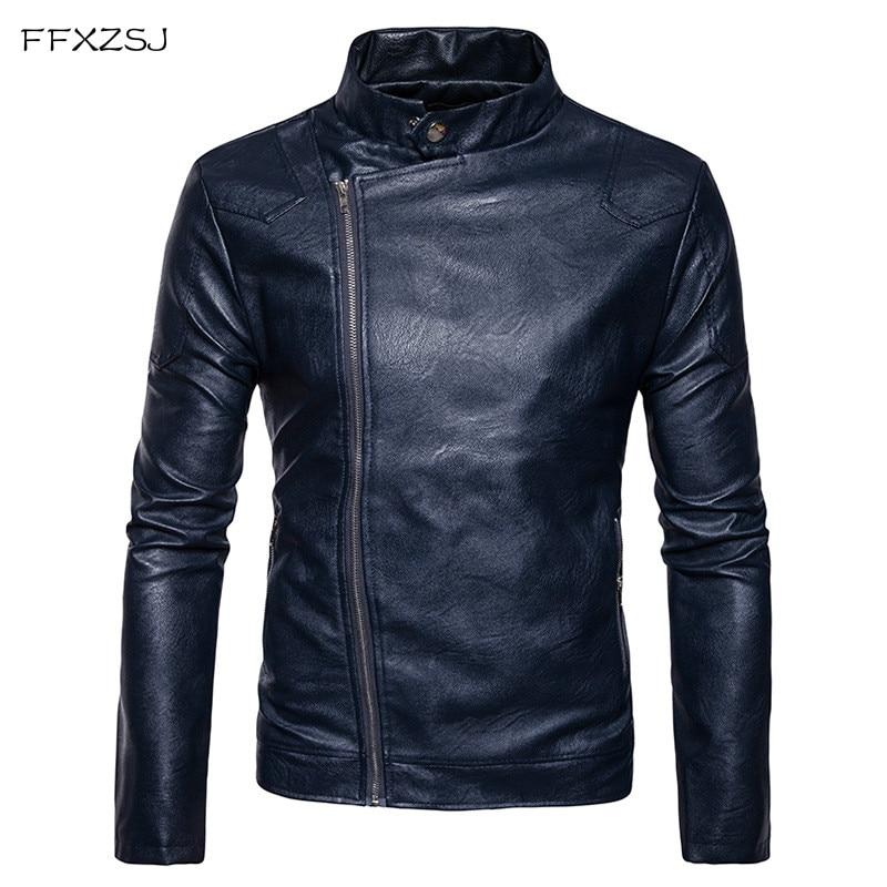 FFXZSJ Brand Leather Jacket Men Stand Collar Jaqueta De Couro Masculina PU Mens Leather Jackets Punk Veste Cuir Homme XXL